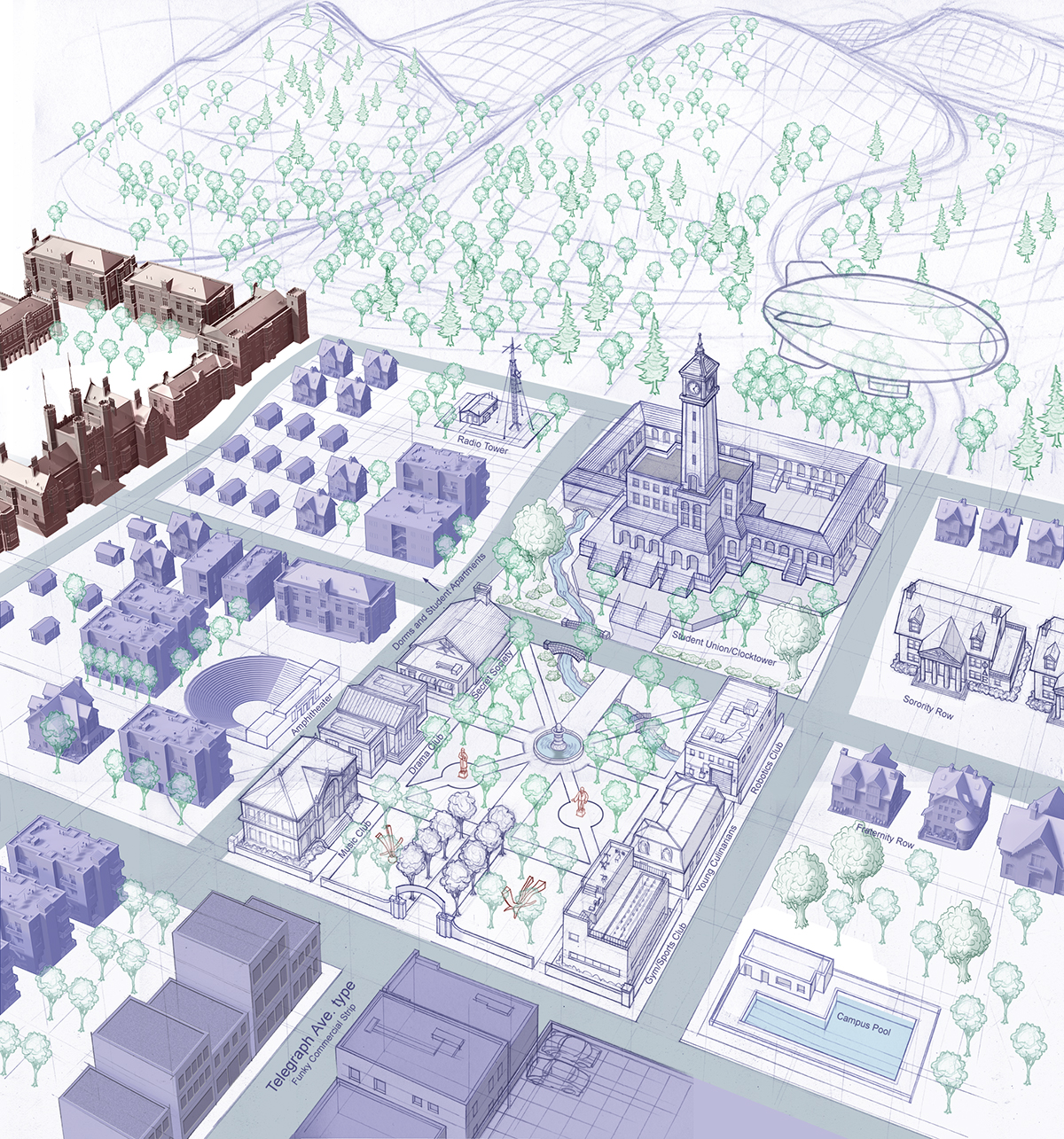 Campus Layout for the Sims 2: University EP